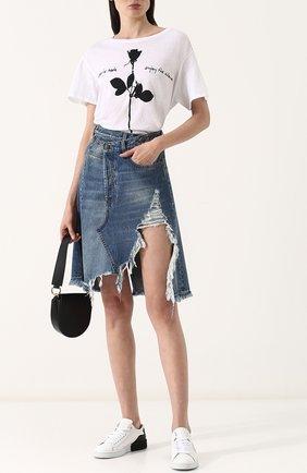 Джинсовая юбка-миди с потертостями R13 голубая   Фото №1