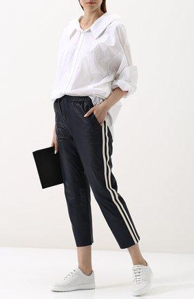 Укороченные кожаные брюки с контрастными лампасами DROMe темно-синие | Фото №1