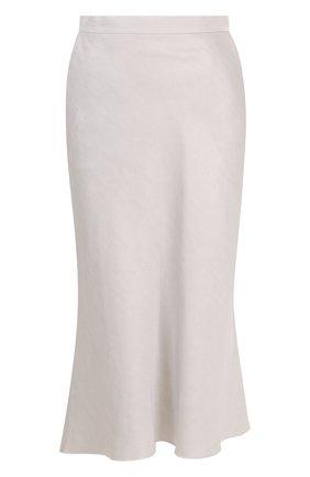 Однотонная хлопковая юбка-миди | Фото №1