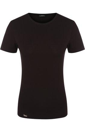 Приталенная футболка с круглым вырезом   Фото №1