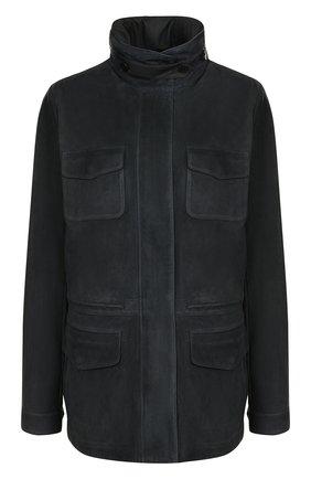 Однотонная замшевая куртка с воротником-стойкой | Фото №1