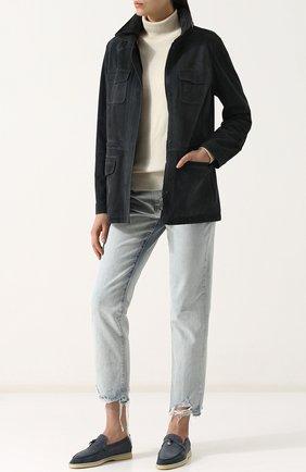 Однотонная замшевая куртка с воротником-стойкой | Фото №2