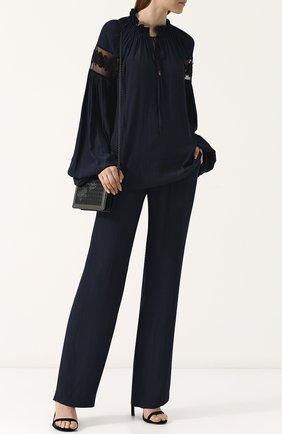 Женская однотонная блуза свободного кроя Poustovit, цвет синий, арт. L18P-3205-20 в ЦУМ | Фото №1