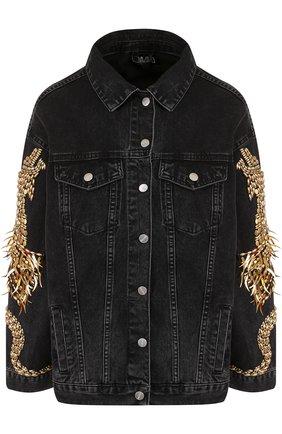 Джинсовая куртка свободного кроя с контрастной отделкой   Фото №1