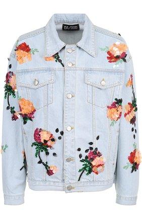 Джинсовая куртка свободного кроя с контрастной отделкой | Фото №1