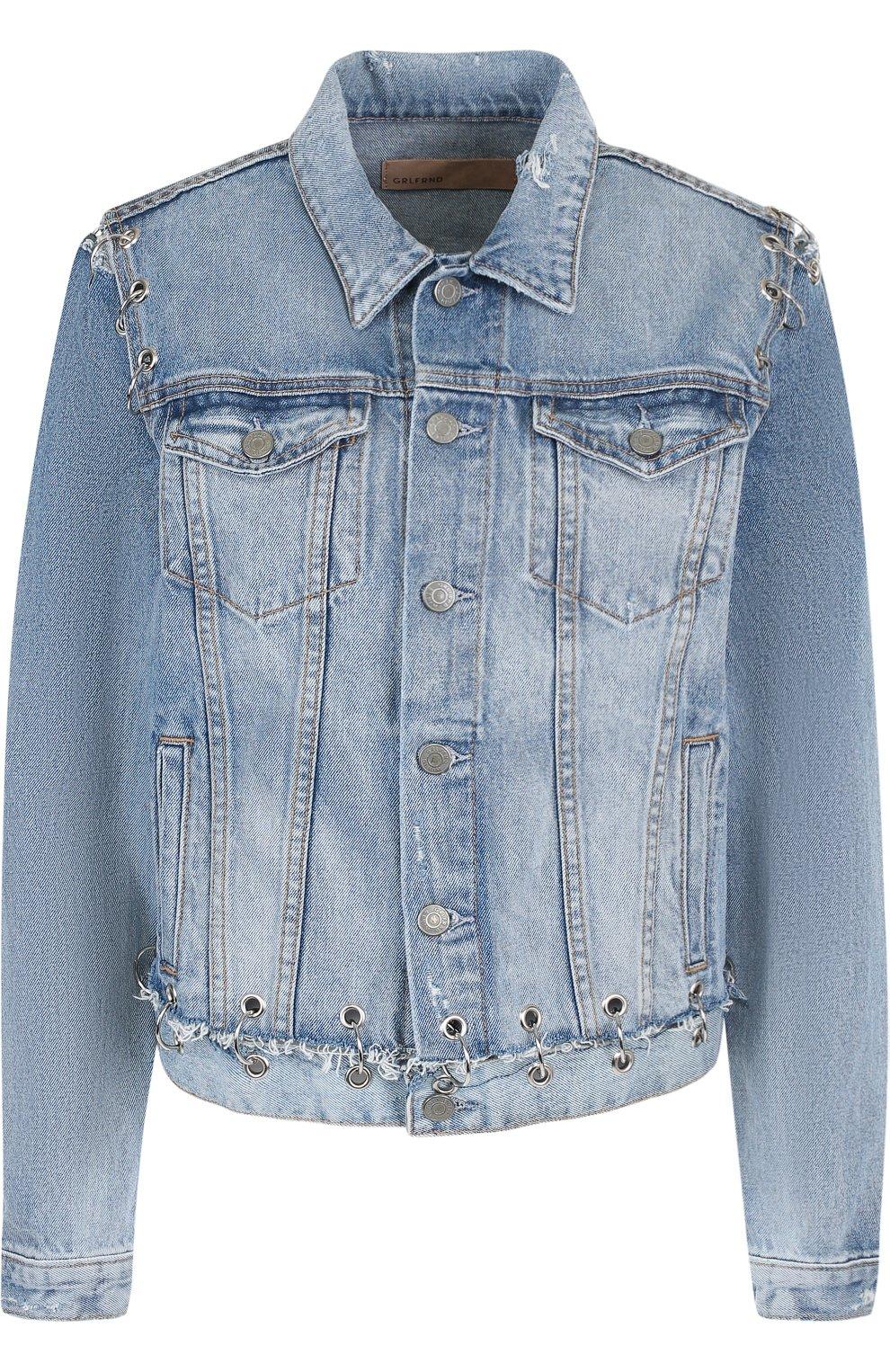 Женская джинсовая куртка свободного кроя с потертостями GRLFRND голубого цвета, арт. GF4016850715 | Фото 1