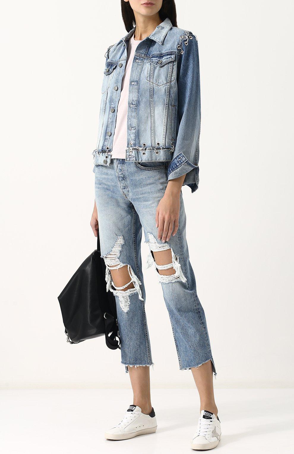 Женская джинсовая куртка свободного кроя с потертостями GRLFRND голубого цвета, арт. GF4016850715 | Фото 2