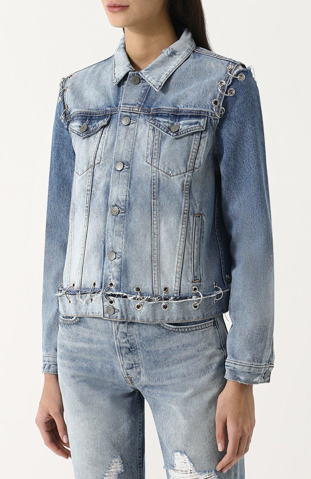 Женская джинсовая куртка свободного кроя с потертостями GRLFRND голубого цвета, арт. GF4016850715 | Фото 3