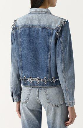 Женская джинсовая куртка свободного кроя с потертостями GRLFRND голубого цвета, арт. GF4016850715 | Фото 4