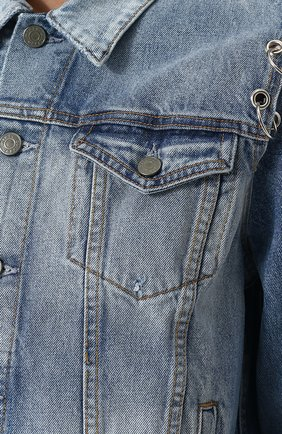 Женская джинсовая куртка свободного кроя с потертостями GRLFRND голубого цвета, арт. GF4016850715 | Фото 5
