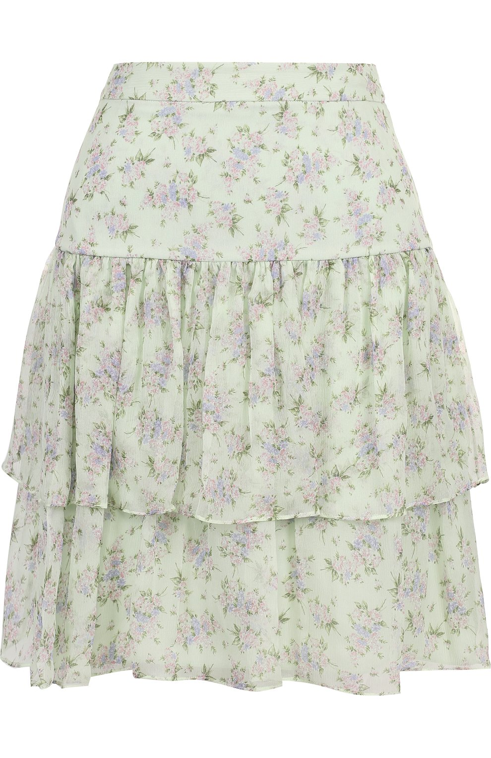 Женская шелковая мини-юбка с принтом PAUL&JOE светло-зеленого цвета, арт. HLETWIST | Фото 1