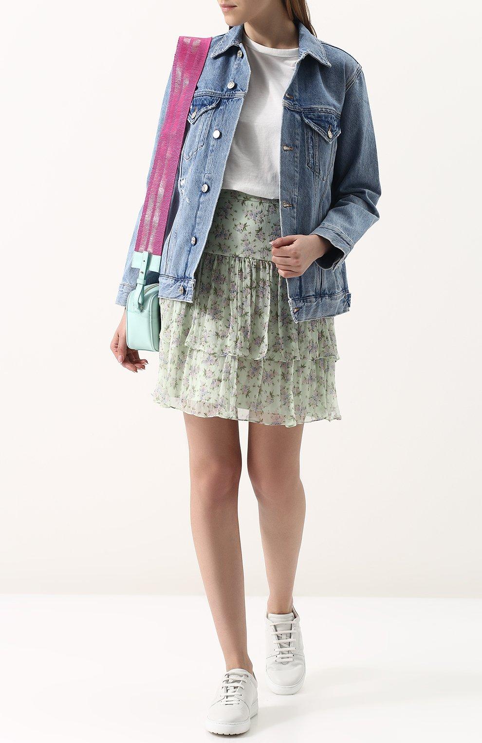 Женская шелковая мини-юбка с принтом PAUL&JOE светло-зеленого цвета, арт. HLETWIST | Фото 2
