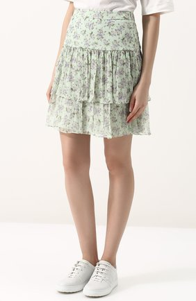 Женская шелковая мини-юбка с принтом PAUL&JOE светло-зеленого цвета, арт. HLETWIST | Фото 3