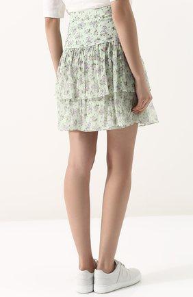 Женская шелковая мини-юбка с принтом PAUL&JOE светло-зеленого цвета, арт. HLETWIST | Фото 4