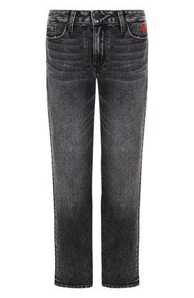 Укороченные джинсы прямого кроя с потертостями Paige серые   Фото №1