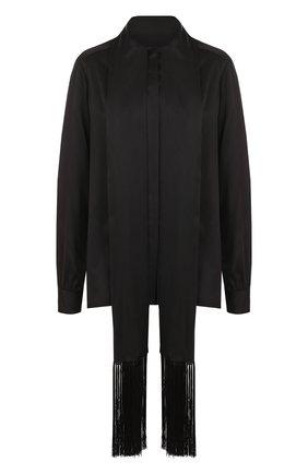 Однотонная шелковая блуза с воротником-стойкой   Фото №1
