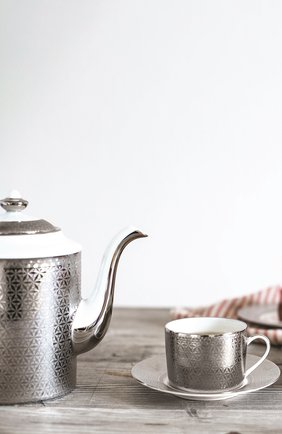 Чайная чашка с блюдцем divine BERNARDAUD серебряного цвета, арт. 1388/91 | Фото 2 (Статус проверки: Проверена категория; Ограничения доставки: fragile-2)