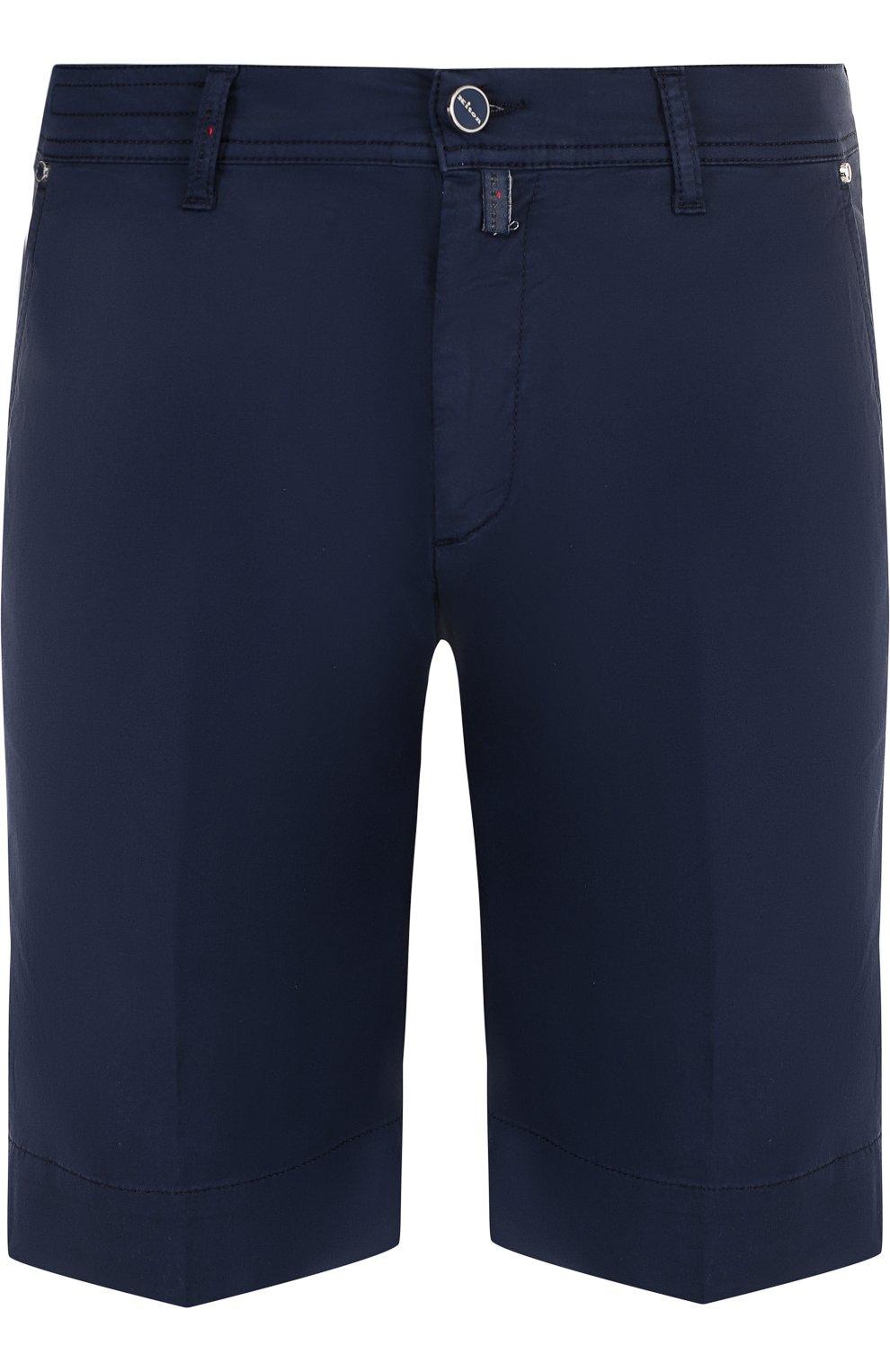 Мужские хлопковые шорты с карманами KITON темно-синего цвета, арт. UPNJSB/J06P78 | Фото 1