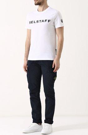 Хлопковая футболка с логотипом бренда Belstaff белая | Фото №1