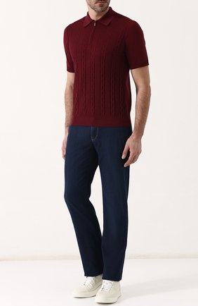 Мужское поло с короткими рукавами из смеси шелка и хлопка ZILLI бордового цвета, арт. MBP-PZ432-TREV1/MC02 | Фото 2