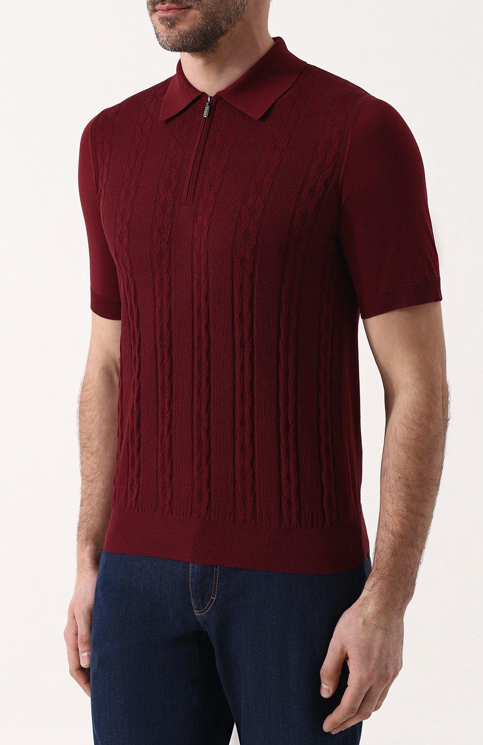 Мужское поло с короткими рукавами из смеси шелка и хлопка ZILLI бордового цвета, арт. MBP-PZ432-TREV1/MC02 | Фото 3
