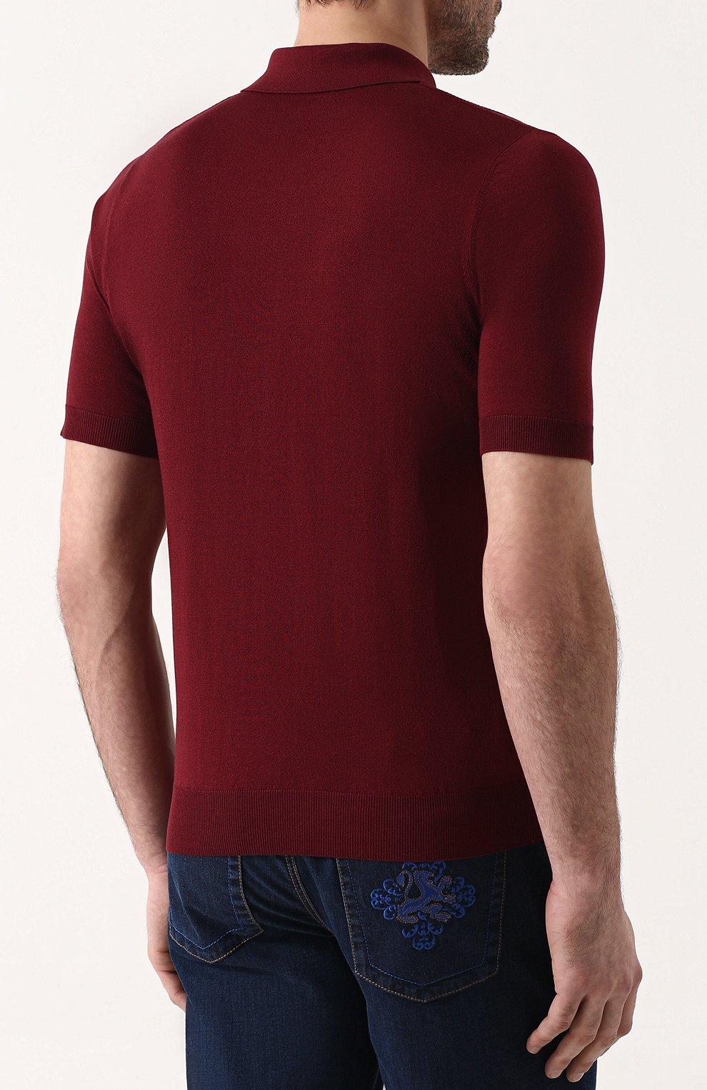 Мужское поло с короткими рукавами из смеси шелка и хлопка ZILLI бордового цвета, арт. MBP-PZ432-TREV1/MC02 | Фото 4