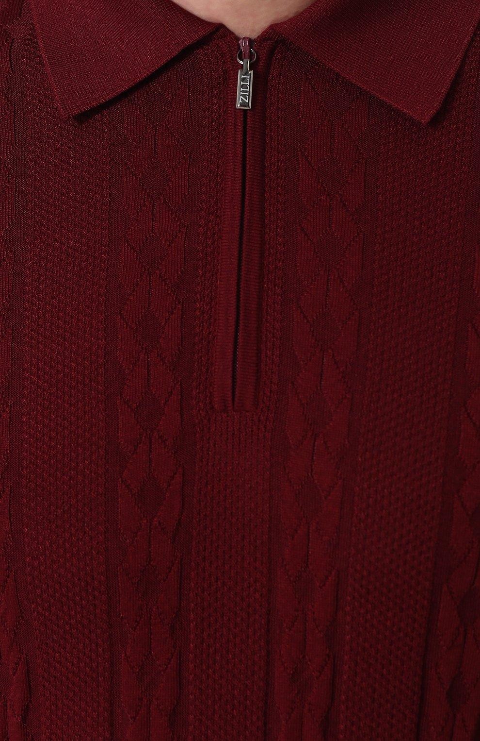 Мужское поло с короткими рукавами из смеси шелка и хлопка ZILLI бордового цвета, арт. MBP-PZ432-TREV1/MC02 | Фото 5