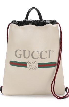 Кожаный рюкзак с логотипом бренда | Фото №5