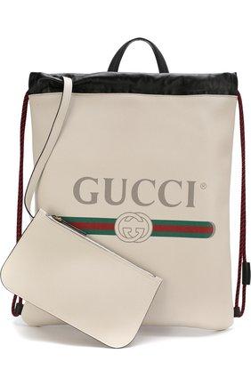 Кожаный рюкзак с логотипом бренда | Фото №6