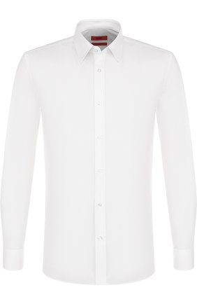 Хлопковая приталенная сорочка с воротником кент HUGO белая   Фото №1