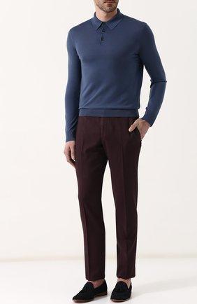 Мужское шерстяное поло с длинными рукавами ERMENEGILDO ZEGNA синего цвета, арт. UPM00/132 | Фото 2