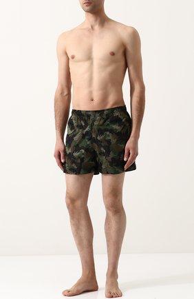 Плавки-шорты с принтом Tomas Maier хаки | Фото №1
