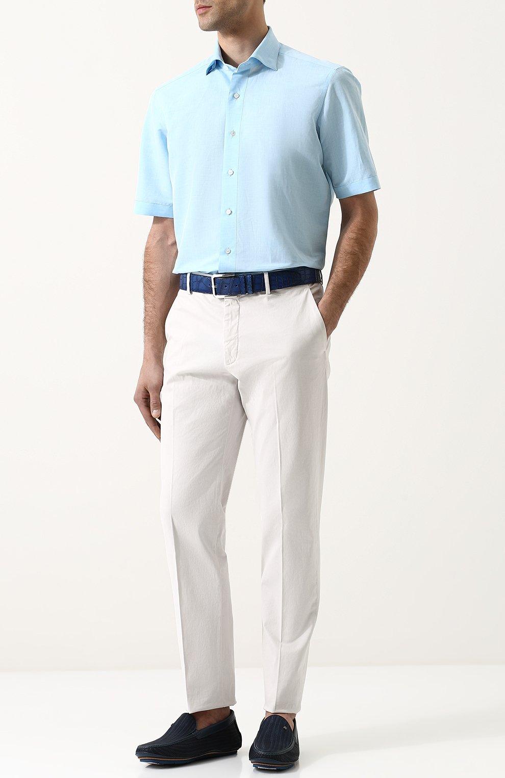 Мужские кожаные мокасины с тиснением ZILLI темно-синего цвета, арт. M007/006 | Фото 2