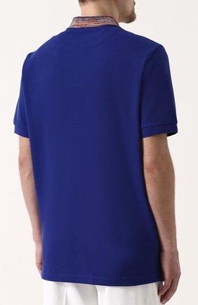 Хлопковое поло с короткими рукавами Missoni синее   Фото №4
