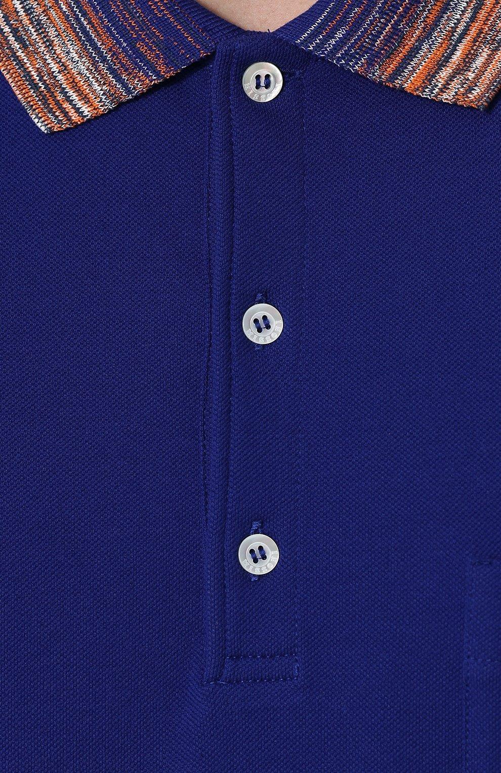 Хлопковое поло с короткими рукавами Missoni синее   Фото №5