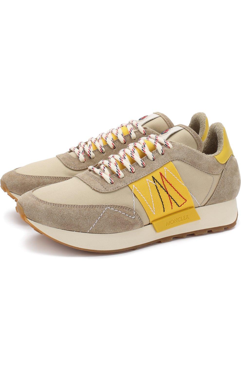 Мужские комбинированные кроссовки на шнуровке MONCLER коричневого цвета, арт. D1-09A-10191-00-019NF | Фото 1