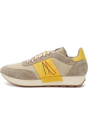 Мужские комбинированные кроссовки на шнуровке MONCLER коричневого цвета, арт. D1-09A-10191-00-019NF | Фото 3