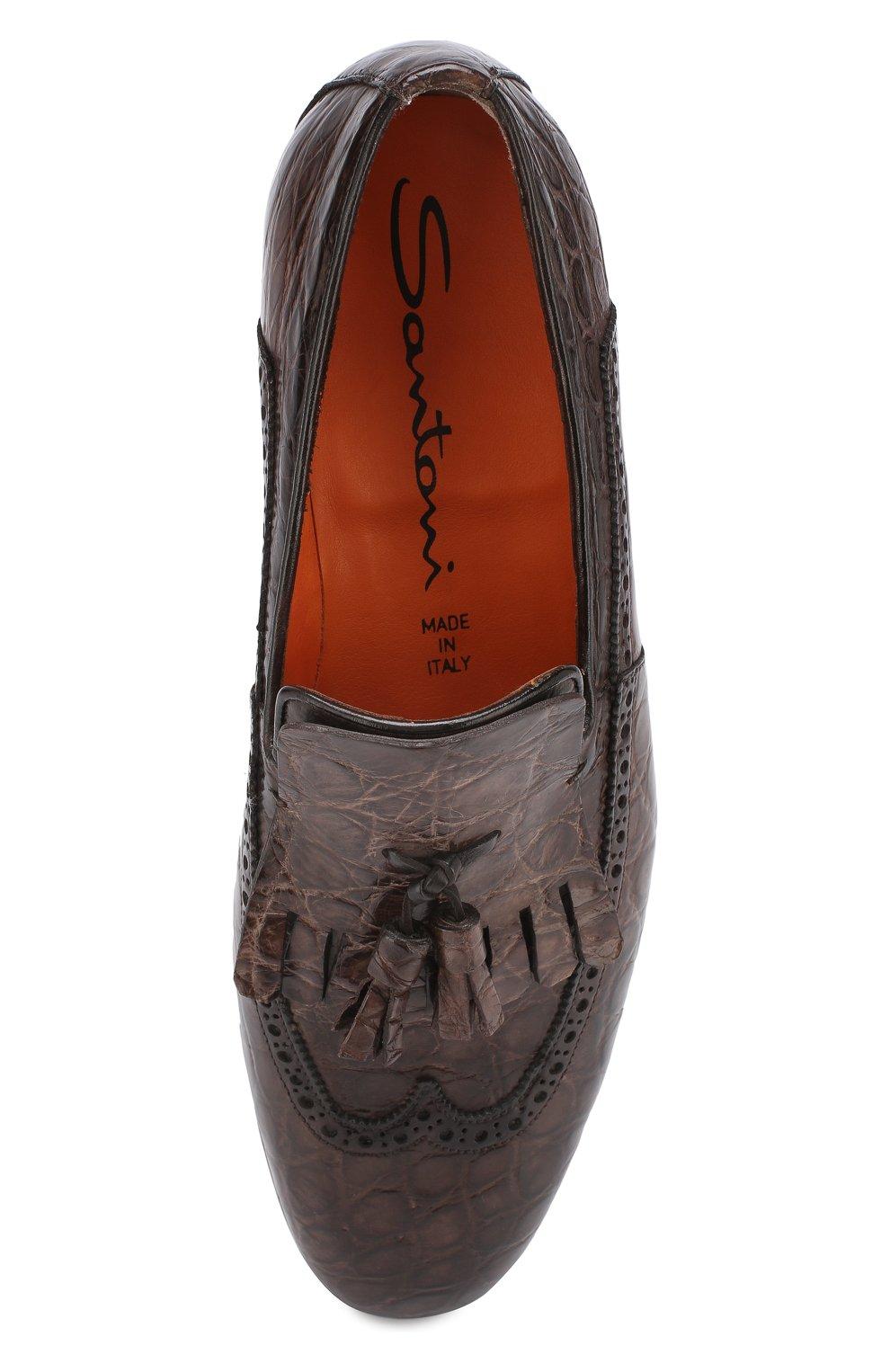 Мужские лоферы из кожи аллигатора с брогированием SANTONI PRECIOUS коричневого цвета, арт. MPNC15642BC1ECFAT50 | Фото 5