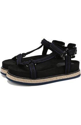 Комбинированные сандалии на джутовой подошве Moncler черные | Фото №1