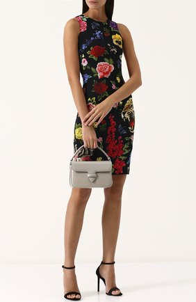 Кожаная сумка с заклепками Alaia серая цвета | Фото №1