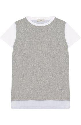 Комбинированная футболка из хлопка | Фото №1