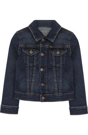 Джинсовая куртка с декоративными потертостями | Фото №1