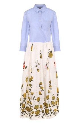 Хлопковое платье-рубашка с принтованной юбкой | Фото №1