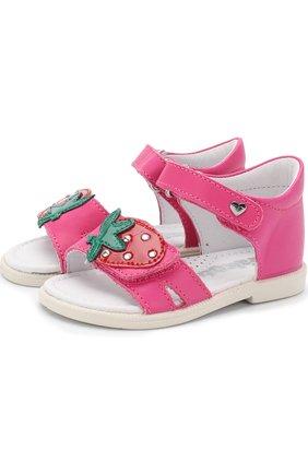 Кожаные сандалии с застежками велькро и аппликацией | Фото №1