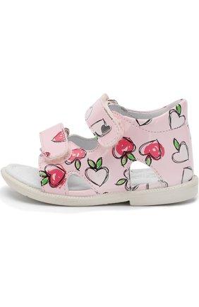 Кожаные сандалии с застежками велькро   Фото №2