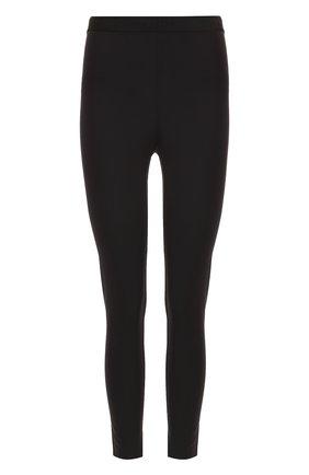Укороченные однотонные брюки-скинни с разрезами | Фото №1