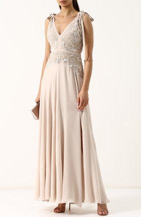 Приталенное шелковое платье-макси с вышивкой Elie Saab бежевое | Фото №1