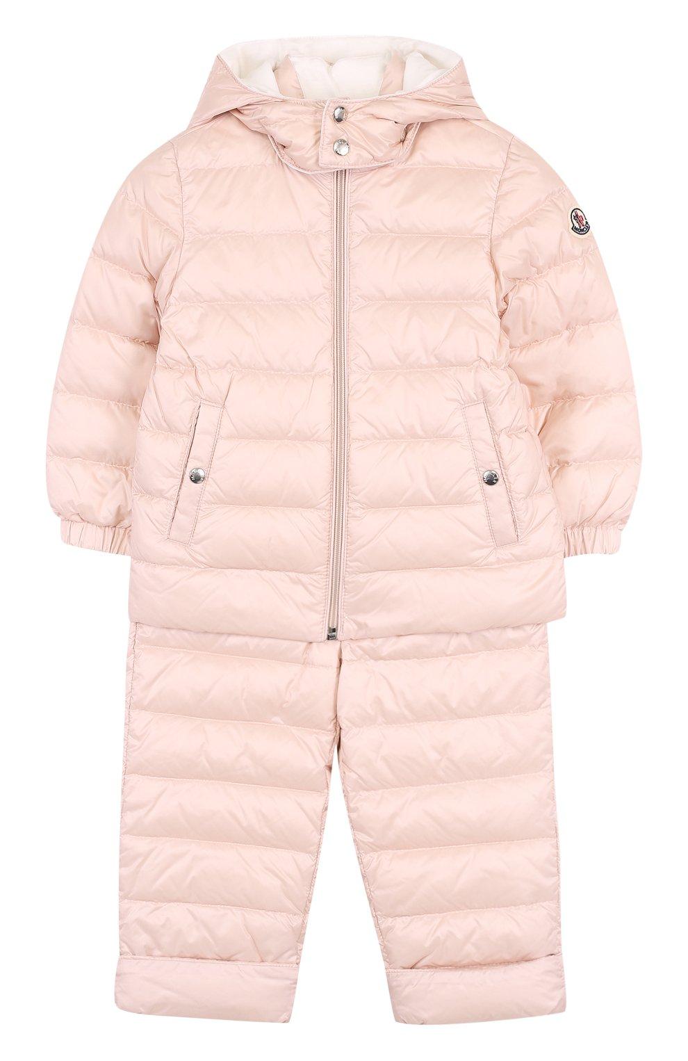 Детский пуховый комплект из куртки и комбинезона MONCLER ENFANT светло-розового цвета, арт. D1-951-70340-05-53048 | Фото 1