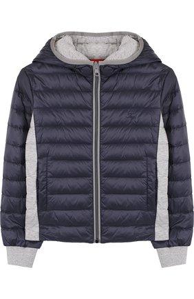 Пуховая куртка на молнии с капюшоном Fay Junior синего цвета | Фото №1