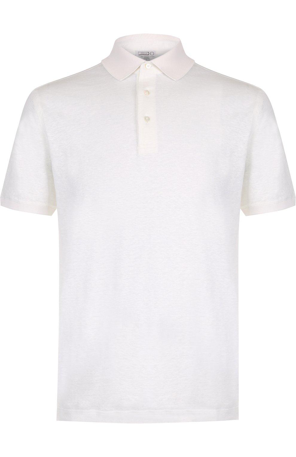 Мужское льняное поло ZILLI белого цвета, арт. MFP-ZJ003-66006/0001 | Фото 1